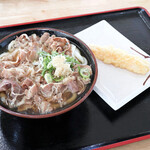 セルフうどん麺太郎 - 肉うどんとえび天