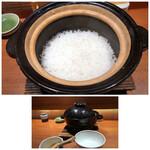 柳町 一刻堂 - 土鍋ご飯は、注文を受けてから炊かれます。