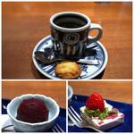 柳町 一刻堂 - *カシスアイス *カッサータ・・本場の品とは若干異なりますが、苺がタップリで好み。 *珈琲