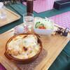 くまキッチン - 料理写真:とんかつドリア 900円 サラダとまんじゅう(?)つきます