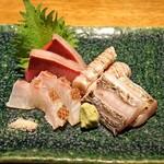 高太郎 - お造り四種盛り  天草産の真鯛、岡山産の蝦蛄、天草産の鰤、天草産の太刀魚
