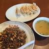 ゆかわ食堂 - 料理写真:黒米炒飯(黒米入玄米炒飯)と焼餃子