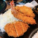 とんかつ こころ - ミックスかつ定食 ¥1180 ヒレかつ、エビ、キス