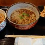Sobawashoku hatari - そばとミニ豚丼セット 1000円 今日はちくわの天ぷら付き