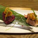 Kuriximixi - 雲丹と馬肉二種食べ比べ