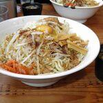 麺屋久兵衛  - 料理写真:汁なし 858円、特盛(450g) 110円、煮干しスープ 110円