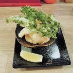 堂山食堂 - あおさとエビの天ぷら