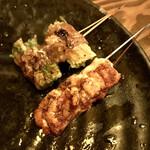 串焼・鉄板焼・くわ焼  くわくわ あびこ - 白子しょうゆ焼き、水菜のくじら巻