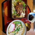天然ラドン温泉とお宿とお食事 神楽門前湯治村 - 広島和牛のステーキ重 ミニうどん