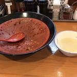 創作まぜそば まるさんかくしかく - スープ割り(無料)を貰う ※で、割るもの無いんですけど~~