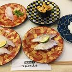 海鮮寿司とれとれ市場 - 料理写真:白浜産本クエ・生ウニ軍艦・のどぐろ・熊本県産炙り太刀魚・大分県産活〆とらふぐ