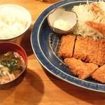 薩摩 茶美豚 とんかつ 花 - 花ミックスかつ定食1,100円