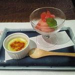 14608666 - トマトのシャーベットとほうれん草のクレームブリュレ