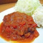 キッチン たか - トマトソースとチーズのハンバーグ