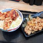 吉野家 - から揚げ丼並盛と、牛皿並盛