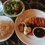 食ん菜 - 三元豚ロースかつ&ライス、香味和風ソース¥1200