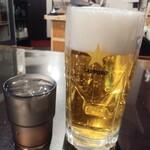 楽楽一番 - ドリンク写真:生ビールはサッポロの大750円(税抜き:以下同)が火曜木曜半額 お冷やとの対比