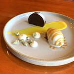 Restaurant Re: - モーリーを使ったショコラテリーヌ エルダーフラワーとゆずのアイス