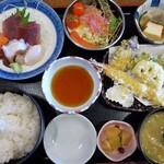 マルハチ商店 - お好み定食:刺し身&天ぷら