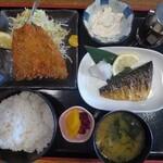 マルハチ商店 - お好み定食:アジフライ&サバ焼き