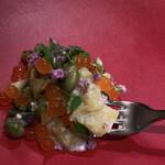エル・バウ・デコラシオン - 焼き茄子と新物の丹羽の黒豆が香ばしい。バイ貝のコリコリ食感と弾けるスモークいくらの深いおいしさ♡