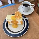 146266262 - かねよし農園のみかんのケーキ&ブレンドコーヒー(フルーティ やや深煎り)