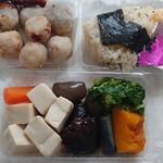 徳多和良 - 里芋の揚物、天むす、野菜の煮物