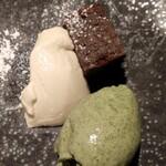 ジェルモーリオ - クレソンのジェラート アールグレイのパンナコッタ グルテンフリーのチョコレートケーキ
