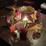 ベジバル Itaru 池袋 ~Vegetable Bar & Organic~ - ベジ盛りガーデン(お特盛り 1,480円) ツリーからバケツを下ろしてみました