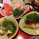 風和里 - 豆腐の醤油 美味さは抜群。塩鯖は嫌いじゃないが、あんだが主役?