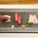 鮨と一品 いちかわ - 北寄貝、本鮪、石鯛