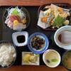 岡田屋 - 料理写真:岡田屋定食(¥1650)税抜き 刺身三種、天ぷら盛合せ、茶碗蒸し、ひじきの煮物、漬け物、味噌汁