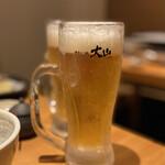 博多もつ鍋 大山 - ビールは飲み放題♡3杯いきましたヽ(*^ω^*)ノ