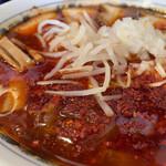大輪 - 竹岡式勝浦タンタンチャーシューメン5辛 ラー油だけではなくて唐辛子がたくさん入ってます。