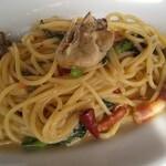 146467627 - 牡蠣と春菊のスパゲッティ
