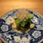 高太郎 - シントリ菜、秘伝豆、胡桃豆のお浸し