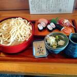 みのり寿司 - 料理写真:【2021.2.22(月)】にぎりセット(にぎり3貫+巻物一本+冷たいうどん)1,000円