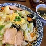 開花亭 - 料理写真:ミックスそば(半焼き麺と半揚げ麺に野菜あんかけ)@780円大盛り+150円(税込)
