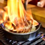 お肉一枚売りの焼肉店 焼肉とどろき - 黒毛和牛 A5 ロースステーキ150g@2,480円:フランベ!