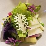 146498586 - ⑥【菜園】33種の京野菜サラダ                       玉葱、九条葱、人参(橙・白・黄・紫)、大根、ビタミン大根、紅芯大根、紫大根、赤大根、蕪、赤蕪、ルタバカ、ドラコンレッド、椎茸、グリーンアスパラ、セロリ                       続きは後の写真へ