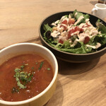 146516676 - ランチセットのスープとサラダ