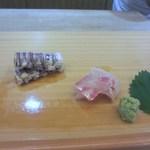 寿司 割烹 開 - 刺身は真鯛とシャコ。