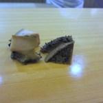 寿司 割烹 開 - 蒸しあわび、生のコリコリ感も良いけどやはり蒸した方が柔らかくて私は好きです。