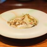 スペイン料理 アロス - ・河豚白子、毛蟹、椎茸(能登115)、蛤+のどぐろ、蛤、春野菜のスープ
