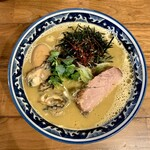 Saichi - 佐市麺 1,180円+牡蠣追加2個 佐市麺は牡蠣拉麺の全部入り
