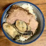 Saichi - 豚野郎ライス(自作)はなんと肩ロースと牡蠣!山海禁断の組み合わせで責めるが、マッチ度は低く点数は低迷。スランプか。