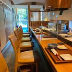 天ぷら専門 多から - カウンター席の仕切りもあるのでコロナ対策も万全です d(^_^o)