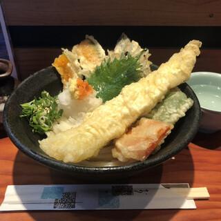 ふたみうどん研究所 - 料理写真:野菜天ぶっかけ(冷)¥670+穴子天¥200