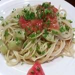 虎鳥屋 - トマトとナスの塩麹味スパゲティ