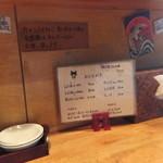 麺屋しぶ沫 - カウンターのメニュー
